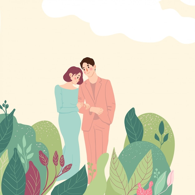 Abraços lindo casal Vetor Premium