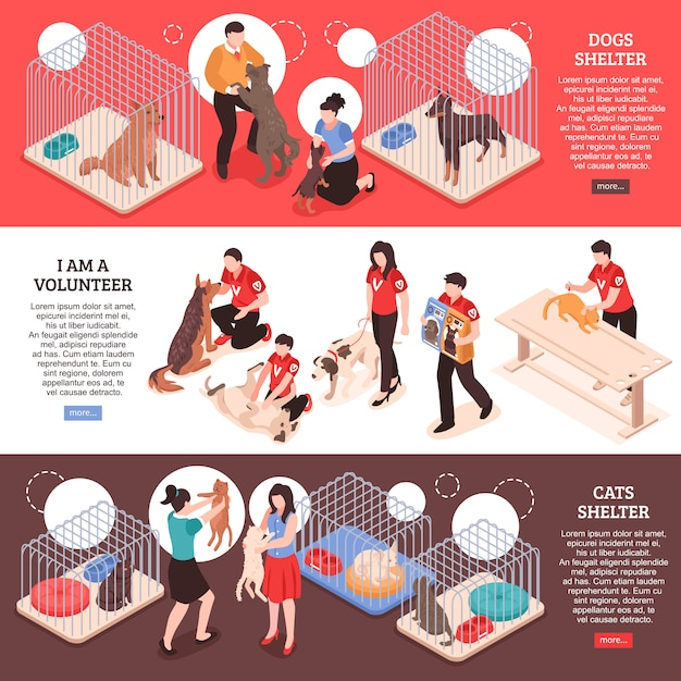 Abrigo de animais para cães e gatos e trabalho de voluntários banners isométricos horizontais ilustração vetorial isolado Vetor grátis