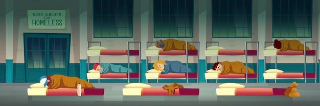 Abrigo noturno para pessoas sem-teto Vetor grátis