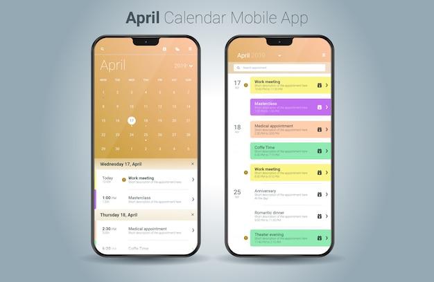 Abril calendário aplicativo móvel luz ui vector Vetor Premium