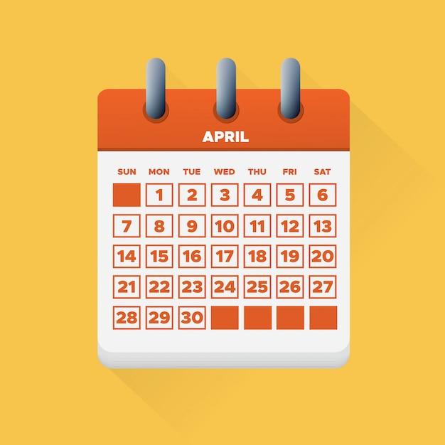 Abril de 2019 calendário Vetor Premium