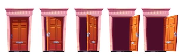 Abrindo a porta da frente de madeira com moldura de pedra isolada no fundo branco. cartoon conjunto de entrada de casa, marrom fechado, entreaberto e portas abertas. ilustração para animação sprite ou jogo 2d Vetor grátis