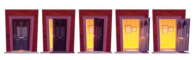 Abrindo a porta da frente de madeira em uma parede de tijolos isolada no fundo branco Vetor grátis