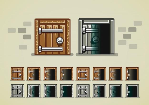 Abrindo a porta do castelo para jogos de vídeo Vetor Premium