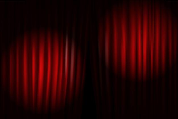 Abrindo as cortinas do palco com projetores brilhantes. ilustração vetorial modelo de apresentação em pé Vetor Premium