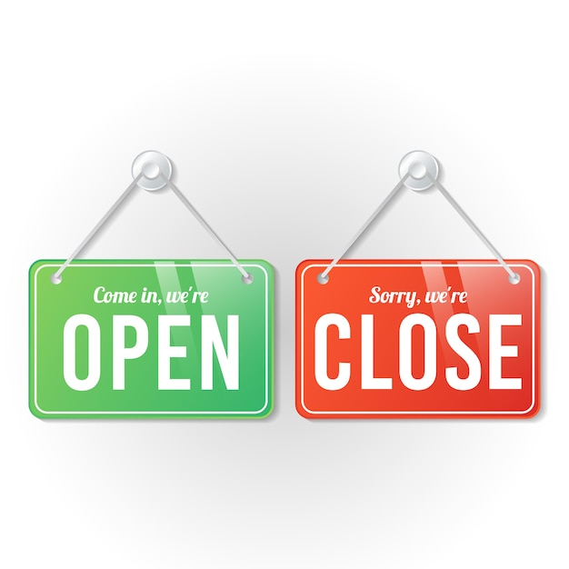 Abrir e fechar o modelo de sinal de loja Vetor Premium