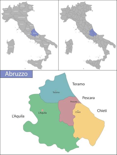 Abruzzo é uma região da itália, localizada na parte sul peninsular do país Vetor Premium