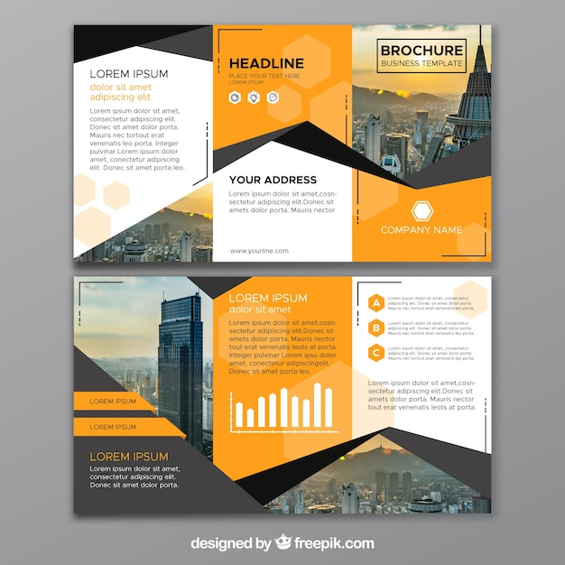 Abstract business trifold Vetor grátis