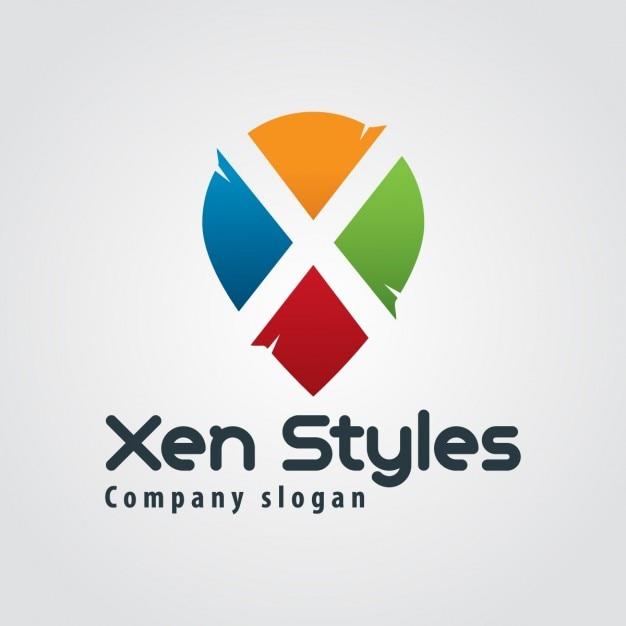 Abstract colorful letter x logo Vetor grátis