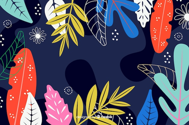Abstract floral hand drawn background Vetor Premium