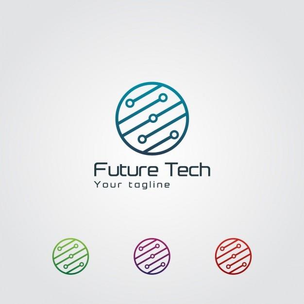 Abstract logo circular tecnologia Vetor grátis