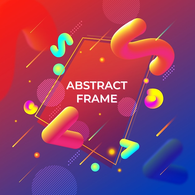 Abstract memphis style fluid fundo de formas 3d Vetor Premium