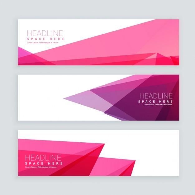 Abstract pink banners de forma geométrica Vetor grátis