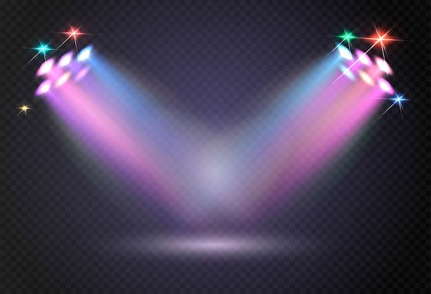Abstrata luz brilhante de holofotes. Vetor Premium