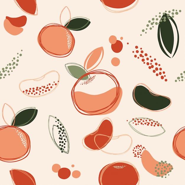 Abstrata sem costura de fundo laranja ou tangerina desenho arte vetorial e ilustração Vetor Premium