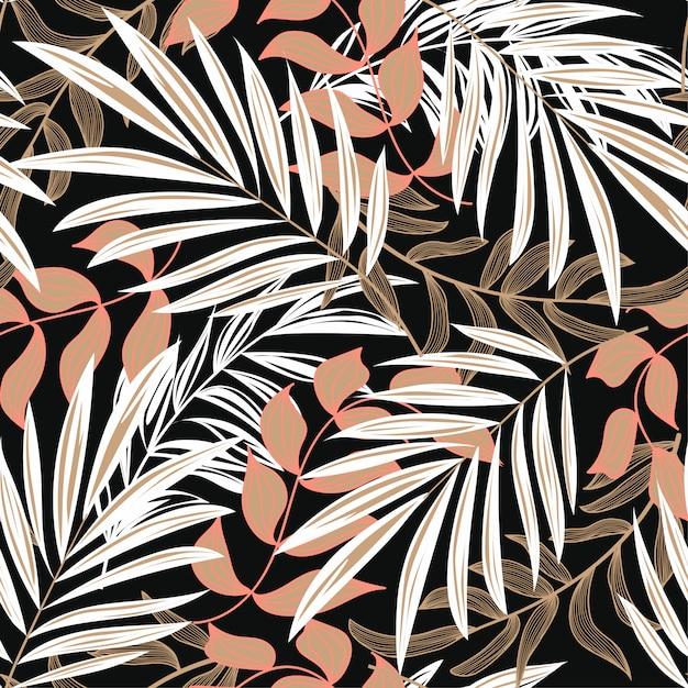 Abstrata sem costura padrão com folhas tropicais coloridas e plantas em fundo escuro Vetor Premium