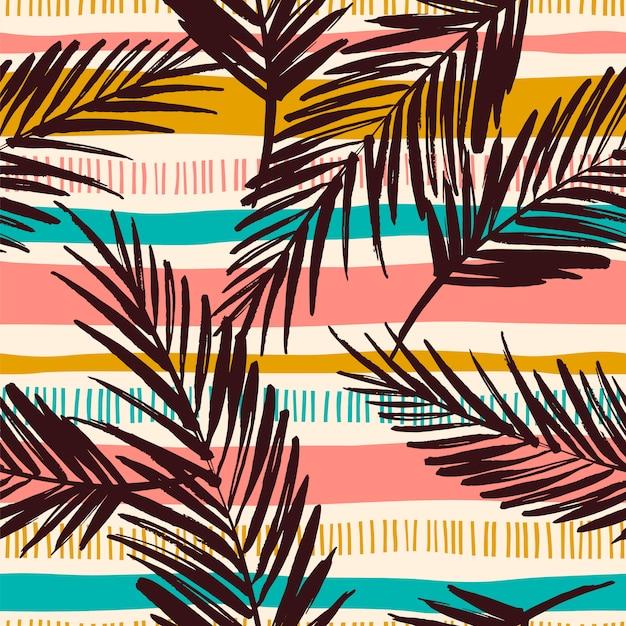 Abstrata sem costura padrão com folhas tropicais. Vetor Premium