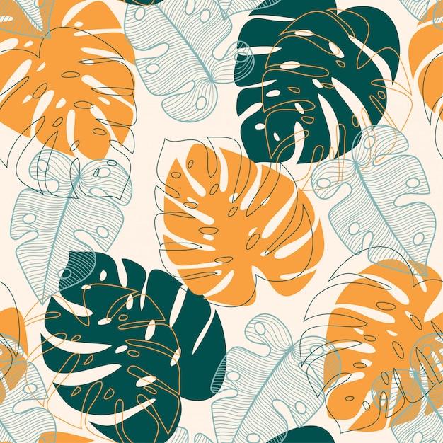 Abstrata sem costura padrão com folhas tropicais Vetor Premium
