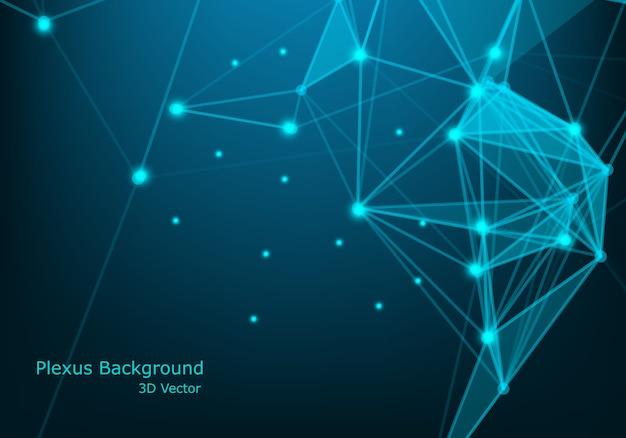 Abstrata tecnologia futurista de moléculas com formas lineares e poligonais em fundo azul escuro. Vetor Premium