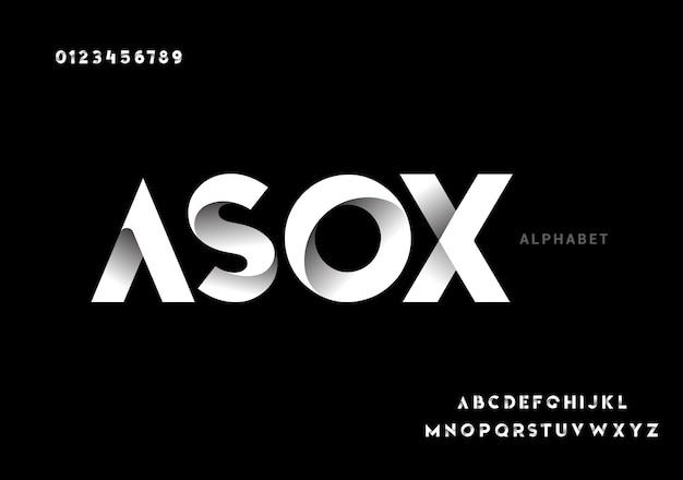Abstrata tecnologia moderna futurista. fontes do alfabeto moderno Vetor Premium