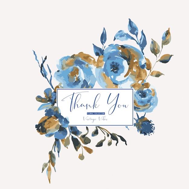 Abstratas rosas turquesas, flores silvestres, cartão vintage. elementos naturais de design floral azul Vetor Premium
