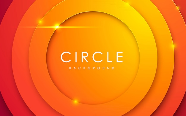 Abstrato 3d círculo papercut fundo laranja Vetor Premium