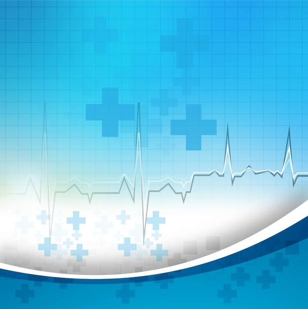 Abstrato azul base médica com vetor de onda Vetor grátis