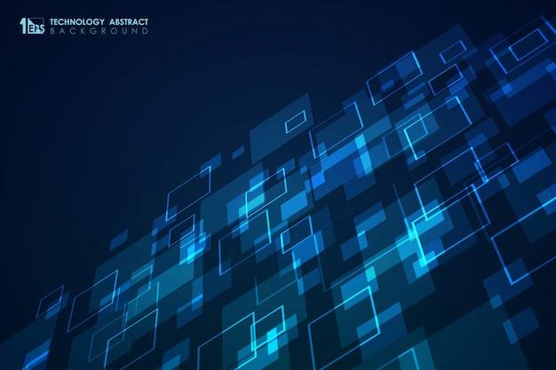 Abstrato azul quadrado padrão de fundo design futurista moderno. Vetor Premium