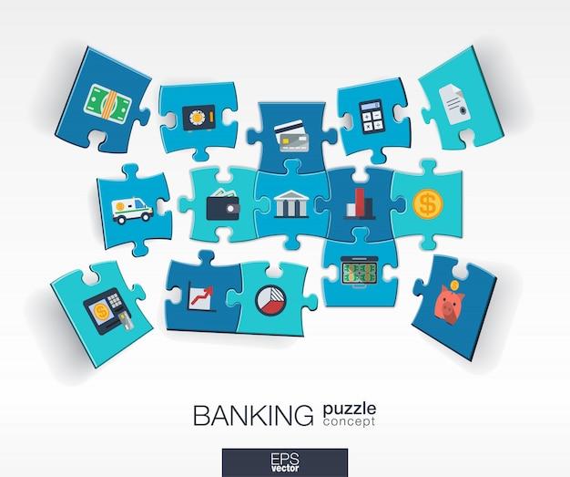 Abstrato base bancário com quebra-cabeças de cores conectadas, ícones integrados. conceito infográfico com peças de dinheiro, cartão, banco e finanças em perspectiva. ilustração interativa. Vetor Premium