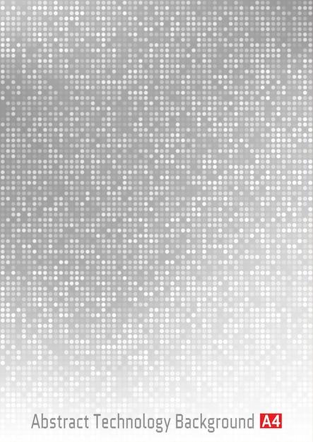 Abstrato base de gradiente digital de pixel de círculo de tecnologia cinza, pano de fundo de padrão cinza de negócios com pixels redondos em tamanho de papel a4. Vetor Premium