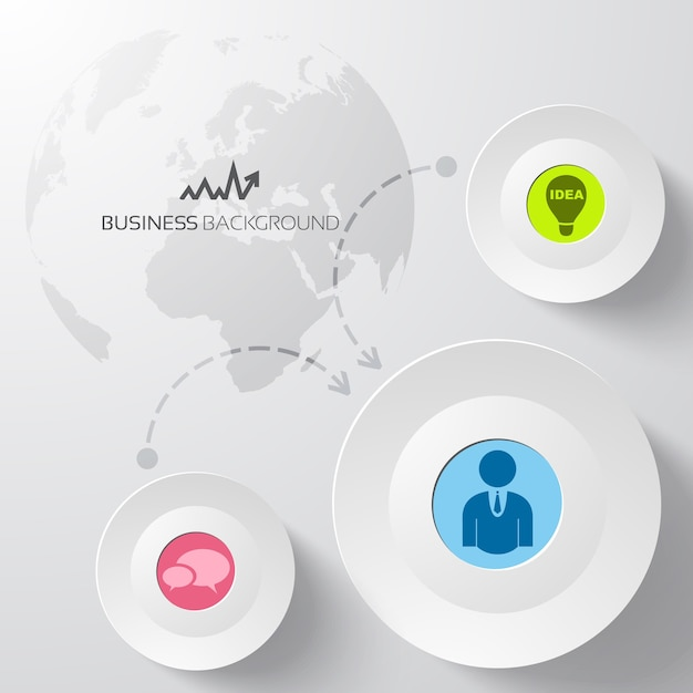 Abstrato base de negócios com círculos e mapa mundial Vetor grátis