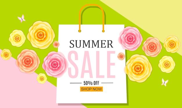 Abstrato base de venda de verão com sacola de compras. Vetor Premium