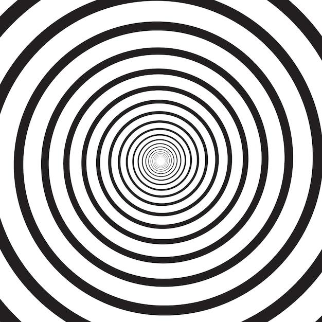 Abstrato base psicodélico quadrado monocromático com redemoinho circular, hélice ou vórtice. pano de fundo com ilusão de ótica redonda ou torção radial. ilustração moderna nas cores preto e brancas. Vetor Premium