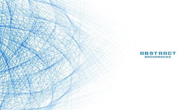 Abstrato branco com rede de malha de linhas azuis Vetor grátis