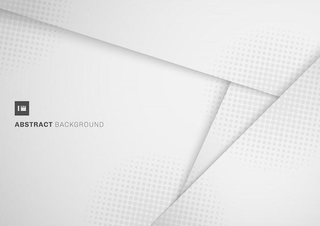 Abstrato branco e cinza papel cortado estilo de fundo Vetor Premium