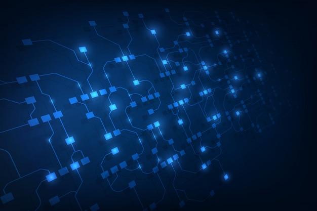 Abstrato circuito de rede blockchain conceito fundo Vetor Premium