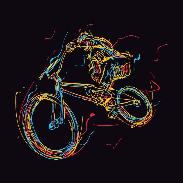 Abstrato colorido cavaleiro de bmx fazendo truques no ar Vetor Premium