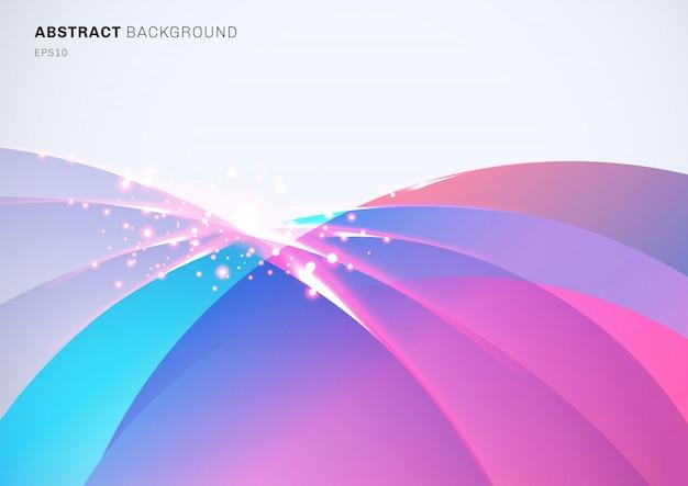 Abstrato colorido curvado sobreposição fundo efeito cintilante Vetor Premium