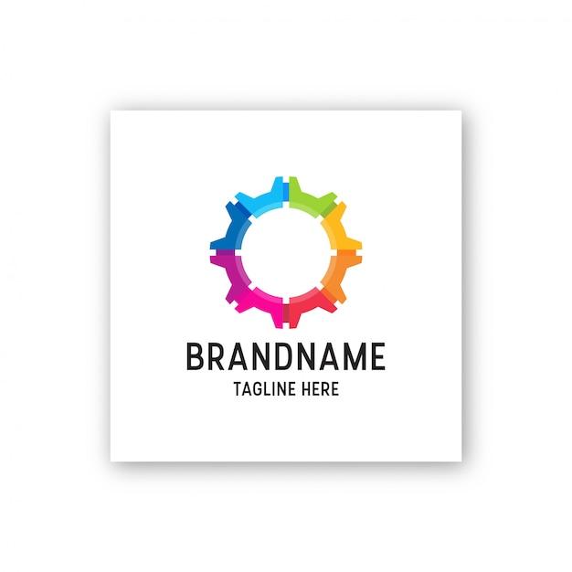 Abstrato colorido engrenagem logotipo ícone design modelo ilustração Vetor Premium