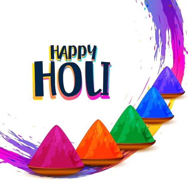 Abstrato colorido feliz holi festival indiano deseja cartão Vetor grátis