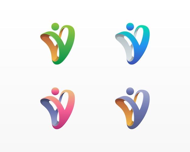 Abstrato colorido letra v pessoas logotipo variações Vetor Premium