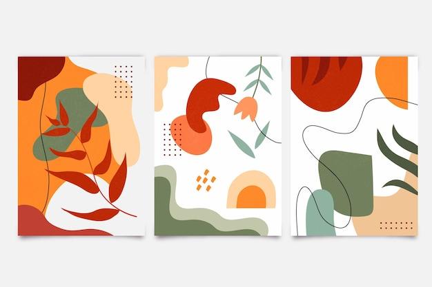 Abstrato colorido mão desenhadas formas capas Vetor grátis