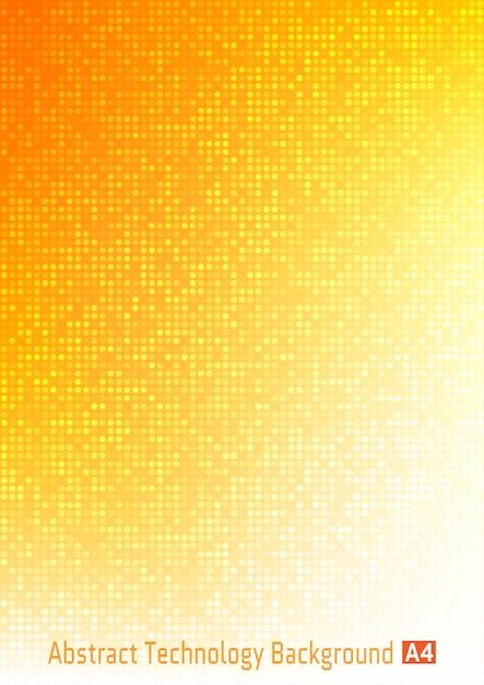 Abstrato colorido tecnologia círculo pixel digital fundo gradiente com cores vermelhas, laranja, amarelas, cenário de negócios padrão brilhante com pixels redondos em tamanho de papel a4. Vetor Premium