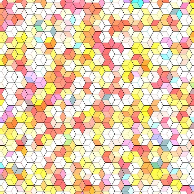 Abstrato com polígonos hexagonais coloridos Vetor Premium