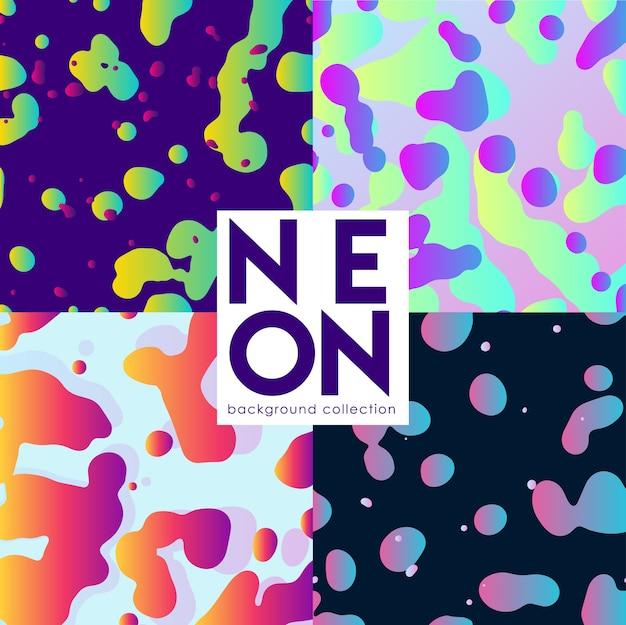 Abstrato conjunto com fluidos neoon Vetor Premium