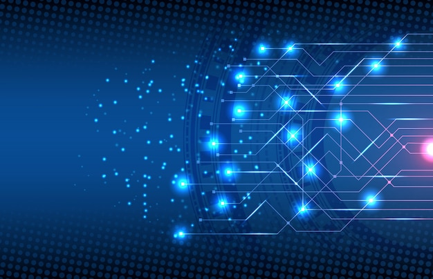 Abstrato da tecnologia de circuito de conexão eletrônica Vetor Premium