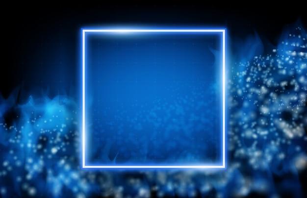 Abstrato de moldura quadrada de néon com dados brilhantes de fluxo e fumaça Vetor Premium