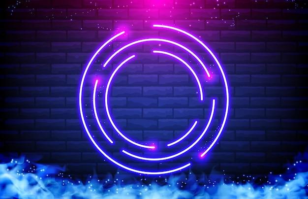 Abstrato de quadro de néon do círculo, fumaça e parede de tijolo Vetor Premium