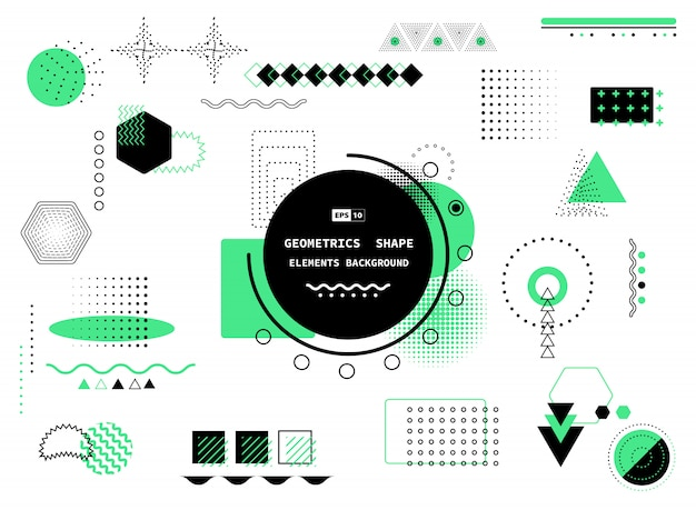 Abstrato design geométrico moderno de estilo preto e verde de memphis Vetor Premium