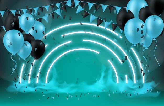 Abstrato do conceito de tecnologia festival balão e bandeira Vetor Premium